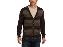 Alex Stevens Men's Striped Cardigan, Brown