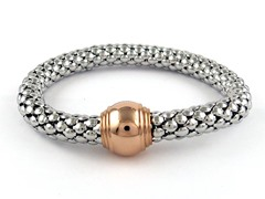 Stainless Steel Stretch Bracelet w/ 18kt Plating
