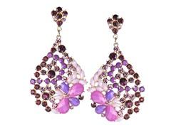 18K Gold-Plated TearDrop Purple Glass Beads Dangling Earrings