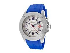 Elini Barokas Blue Silicone Silver Dial Watch