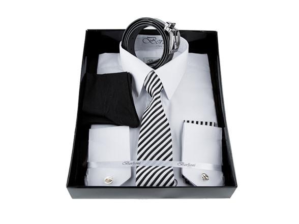 Berlioni Men's 6-Piece Dress Shirt and Accessories Set ...