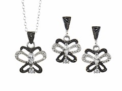 Black/White Marcasite Butterfly CZ Set