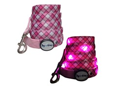 Dog-e-Glow Pink Plaid LED Lighted Leash 6'