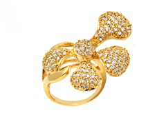 Rhodium Plated Brass and CZ Half Flower Ring