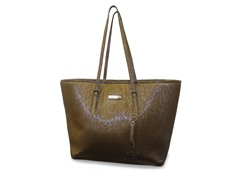 "15"" East West Laptop Tote - Gold"