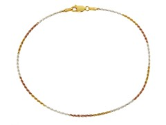 18kt Gold Plated SS Italian Tri Color Rope Anklet