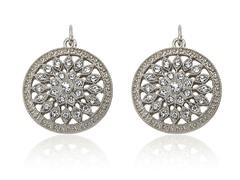 Riccova Country Chic Crystal Flower Center Medallion Dangle Earring