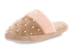 Women's Beaded Pearl Accent Slippers,Bei