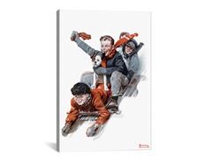 Four Boys on a Sled (2-Sizes)