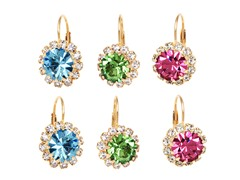 Aqua, Green, & Pink Crystal Flower Set of 3 Huggie Earrings