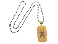 Stainless Steel Yellow Plated Spider Dog Tag