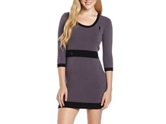 Solid Dress with 3/4 Sleeve, Portal Gray