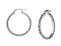 Sterling Silver 30mm AB Crystal Hoops