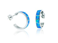 SS Blue Opal Inlay Hoop