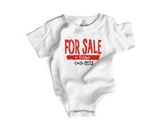 "Wrybaby ""For Sale Sis"" White Bodysuit"