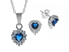 Blue CZ Stud/Chain Set