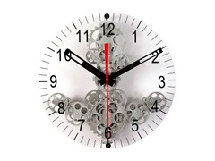 Moving Gear Wall Clock w/Glass