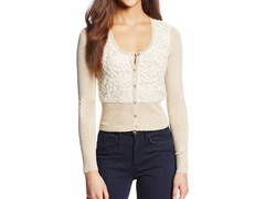 XOXO Juniors Lace Front Crop Cardigan, Khaki