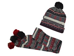 Muk Luks Knit Cuff Cap Scarf Large Pom, Blk Red