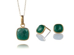 Gold-Plated SS Genuine Dyed Emerald Set