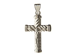 14kt White Gold Pattern Cross, 0.75""