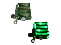 Dog-e-Glow Green Camouflage LED Lighted leash 6'