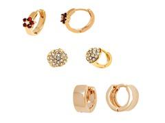 Gold & Crystyals Set of 3 Huggie Earrings