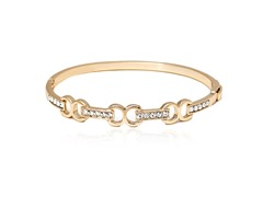Gold/White Swarovski Elements Triple Infinity Baguette Bangle