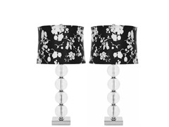 Amanda Blk/Wht Crystal Glass Set of 2