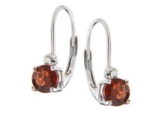 SS Garnet Gemstone w/Diamond Leverback Earrings