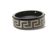 Tungsten Two-Tone Greek Key Bevel Ring