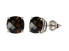 10K WG Stud Earrings, Smoky Quartz