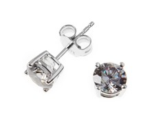 Sterling Silver, 6 mm Gray CZ Earrings