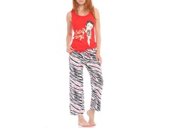 Betty Boop Capri Sleep Set, Red / White Zebra