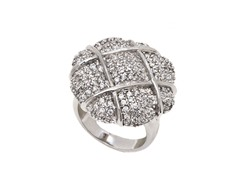 Rhodium Plated Brass and CZ Flower Ring