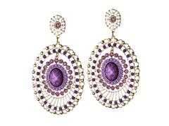 18K Gold-Plated Oval PinWheel Purple Dangling Earrings