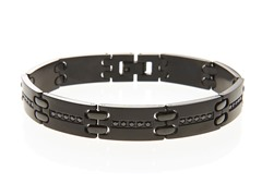 Black Stainless Steel CZ Bracelet