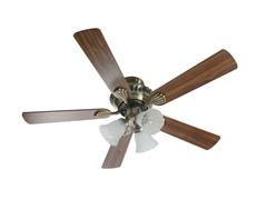 42-Inch English Brass Ceiling Fan with Light Kit