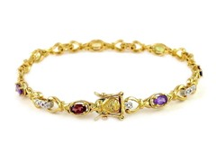 .25CTTW Genuine Diamond Accent Bracelet And Gemstone Bracelet