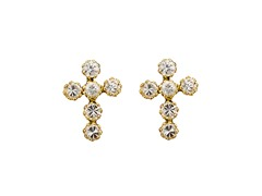 CZ Yellow Gold Cross Eearrings