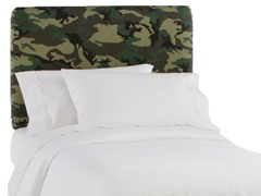 Upholstered Headboard Camo Green