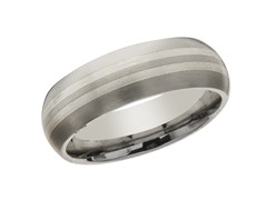 7mm Titanium & Sterling Silver Band