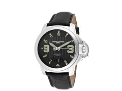 Black Dial Black Leather Watch