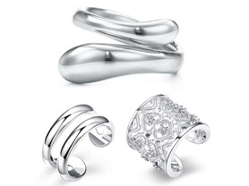 3 Pack Resizeable Sterling Silver Rings