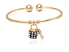 Black/White Swarovski Elements Key and Lock Charm Bangle