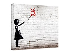 Banksy Balloon TV Girl Wrapped Canvas