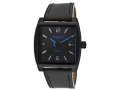 Men's Blue Dial / Black Leather Watch