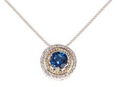 Silver & 14k Gold Sapphire Pendant