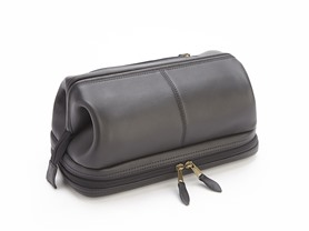 Leather Travel Wash Bag w/ Compartment