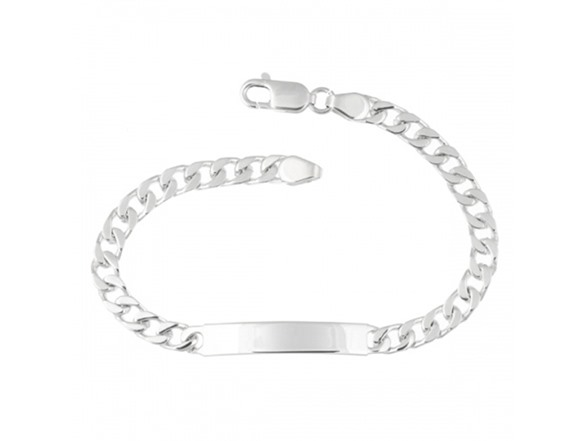 s sterling silver 8 quot engravable id curb bracelet fashion